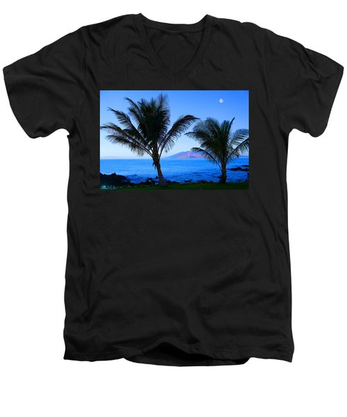 Maui Coastline Men's V-Neck T-Shirt by Michael Rucker