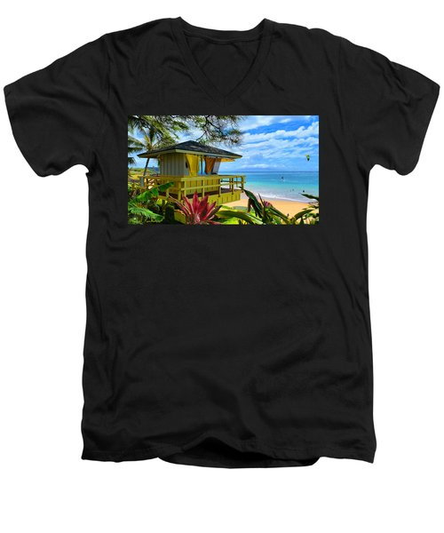 Maui Kamaole Beach Men's V-Neck T-Shirt by Michael Rucker