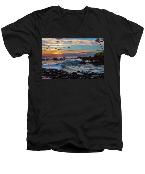 Maui Sunset At Secret Beach Men's V-Neck T-Shirt