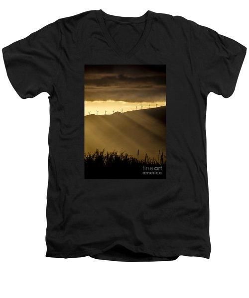 Maui Wind Farm Sunset Men's V-Neck T-Shirt