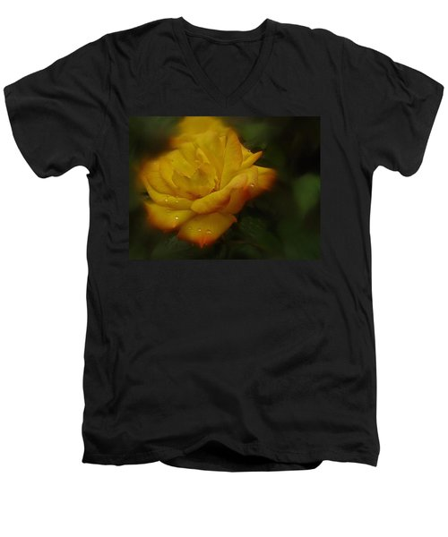 May Rose In The Rain Men's V-Neck T-Shirt by Richard Cummings