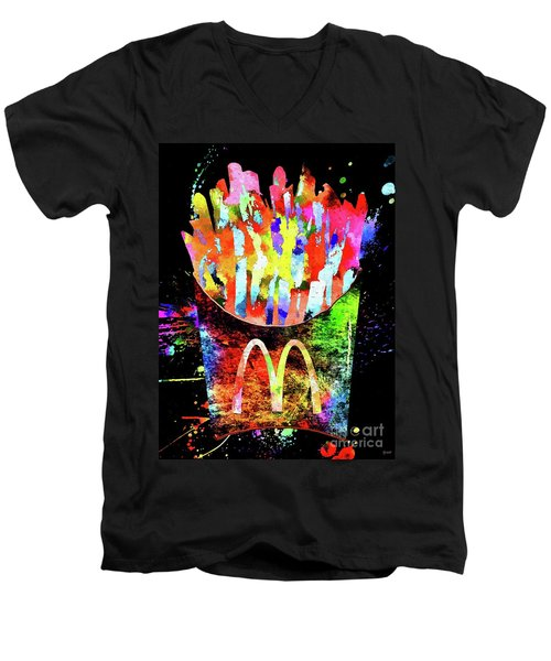 Mcdonald's French Fries Grunge Men's V-Neck T-Shirt