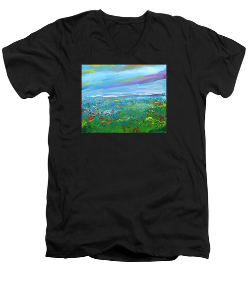 Meadow Drops By Colleen Ranney Men's V-Neck T-Shirt