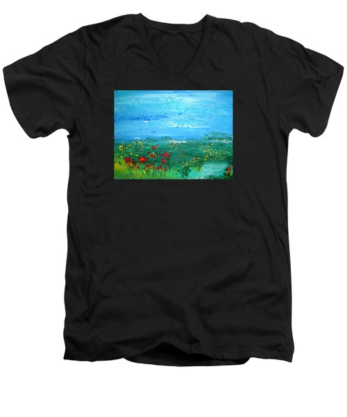 Meadow Pond By Colleen Ranney Men's V-Neck T-Shirt