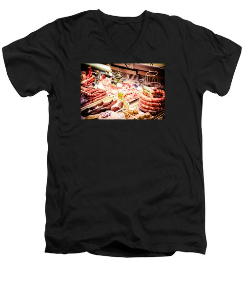Men's V-Neck T-Shirt featuring the photograph Meat Market by Jason Smith