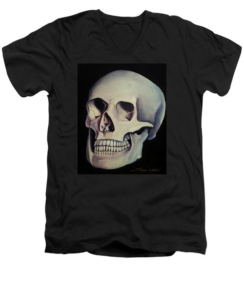 Men's V-Neck T-Shirt featuring the painting Medical Skull  by James Christopher Hill
