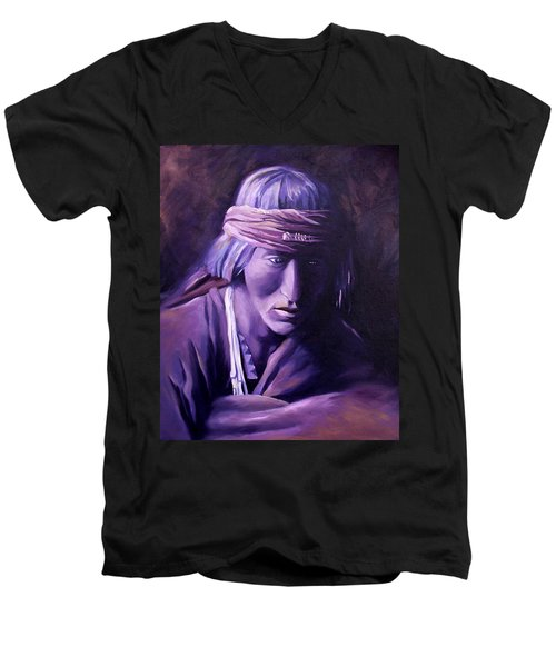 Men's V-Neck T-Shirt featuring the painting Medicine Man by Nancy Griswold