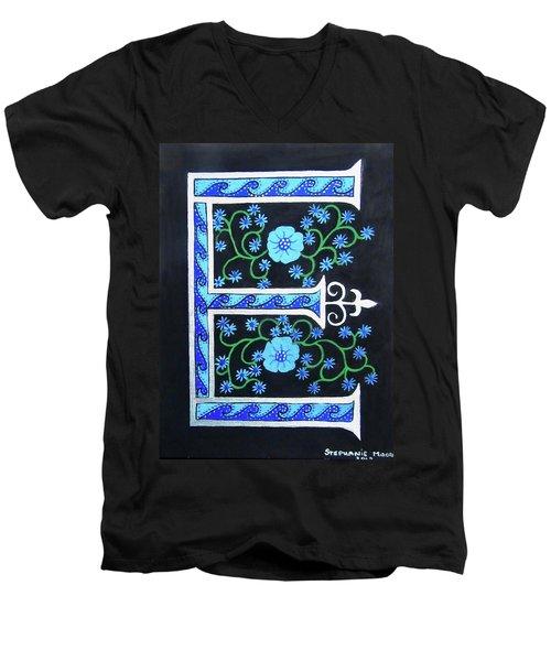 Medieval Letter E Men's V-Neck T-Shirt