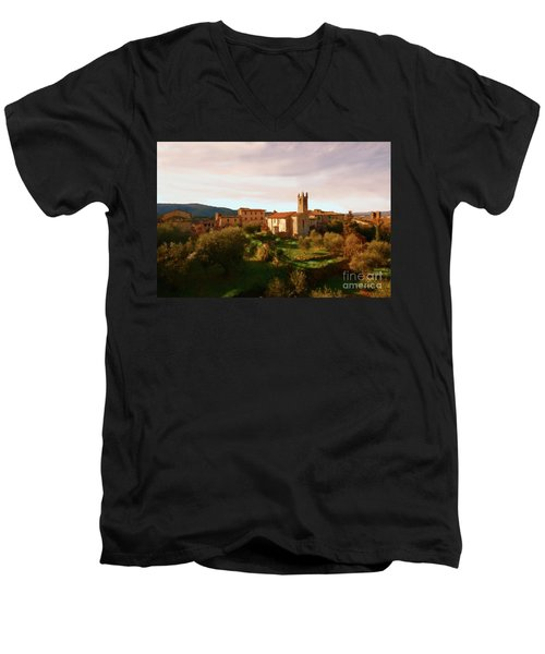 Men's V-Neck T-Shirt featuring the painting Medieval Tuscany by Rosario Piazza