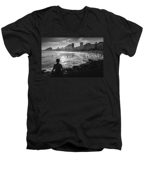 Meditation At Copacabana, Rio De Janeiro, Brazil Men's V-Neck T-Shirt