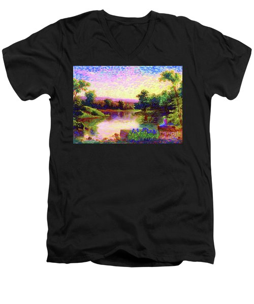 Men's V-Neck T-Shirt featuring the painting  Meditation, Just Be by Jane Small