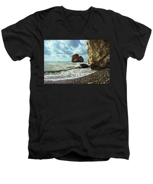 Mediterranean Sea, Pebbles, Large Stones, Sea Foam - The Legendary Birthplace Of Aphrodite Men's V-Neck T-Shirt