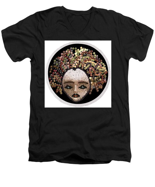Men's V-Neck T-Shirt featuring the digital art Medusa Bedazzled Round Beach Towel by R  Allen Swezey