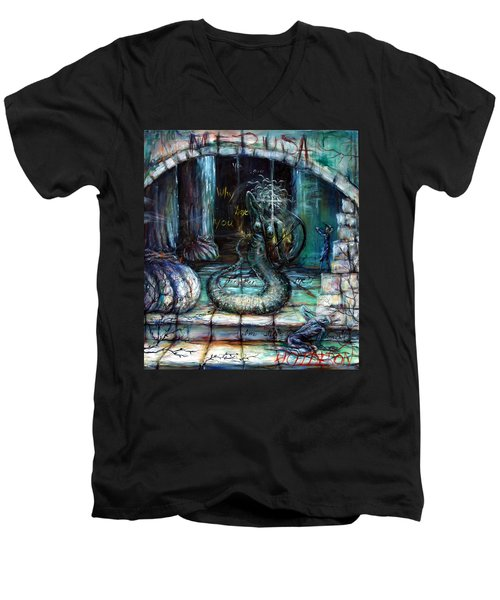 Men's V-Neck T-Shirt featuring the painting Medusa by Heather Calderon