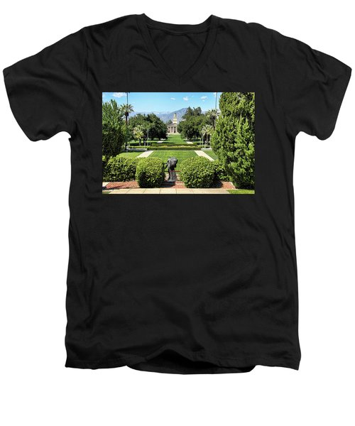 Memorial Chapel University Of Redlands Men's V-Neck T-Shirt by Mariola Bitner