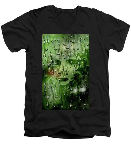 Men's V-Neck T-Shirt featuring the digital art Memory In The Rain by Darren Cannell