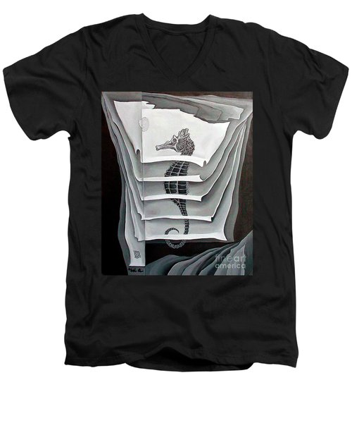 Men's V-Neck T-Shirt featuring the painting Memory Layers by Fei A