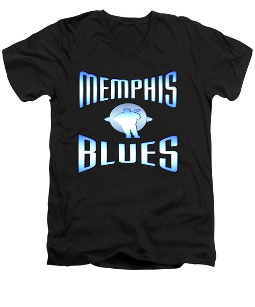 Memphis Blues Tshirt Design Men's V-Neck T-Shirt by Art America Gallery Peter Potter