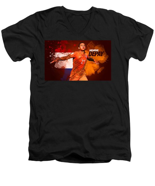 Memphis Depay Men's V-Neck T-Shirt by Semih Yurdabak