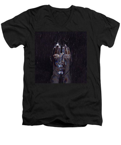 Men Are From Mars Silver Men's V-Neck T-Shirt by ISAW Gallery
