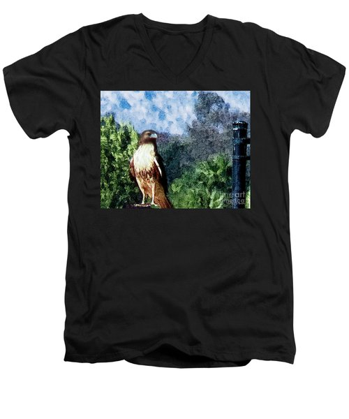 Men's V-Neck T-Shirt featuring the photograph Menifee Falcon by Rhonda Strickland