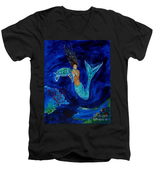 Mermaid And The Sea Turtle Men's V-Neck T-Shirt by Leslie Allen