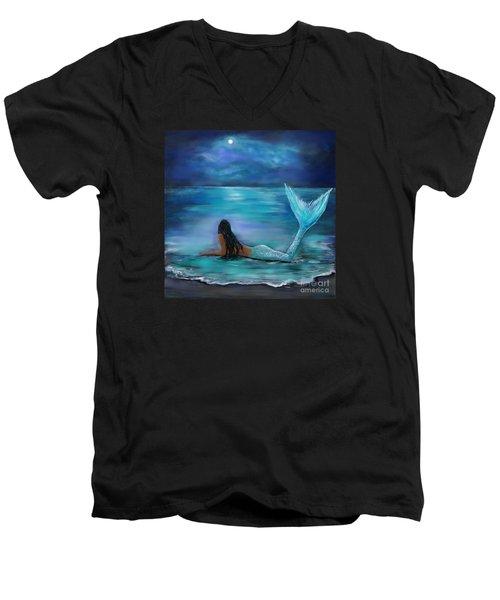 Mermaid Moon And Stars Men's V-Neck T-Shirt