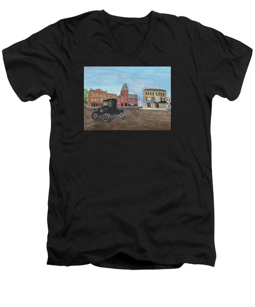 Old New England Town Men's V-Neck T-Shirt