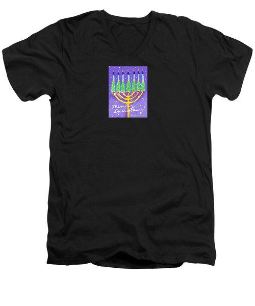 Merry Everything Men's V-Neck T-Shirt by Jean Pacheco Ravinski