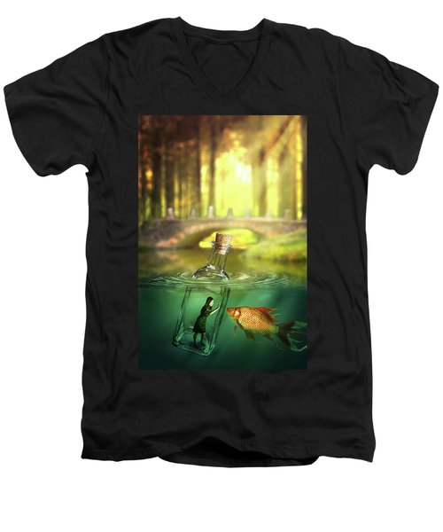 Men's V-Neck T-Shirt featuring the digital art Message In A Bottle by Nathan Wright