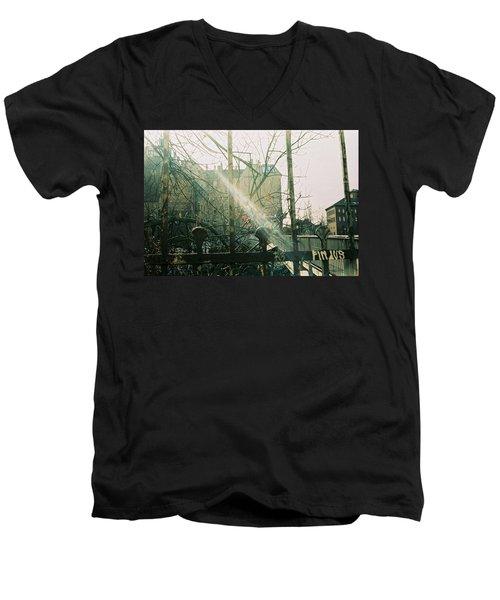 Metal Fence With Grafitti And Bridge Men's V-Neck T-Shirt
