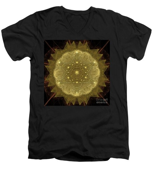 Metatron's Cube Geometric Men's V-Neck T-Shirt