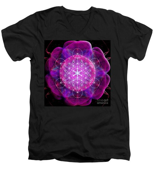 Metatron's Cube On Fractal Pletals Men's V-Neck T-Shirt