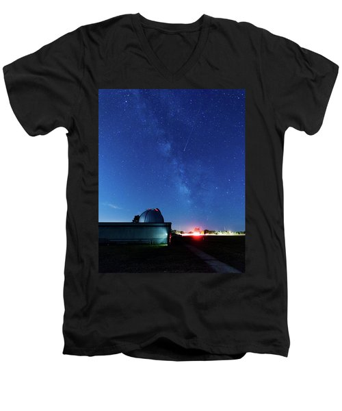 Meteor And Observatory Men's V-Neck T-Shirt by Jay Stockhaus