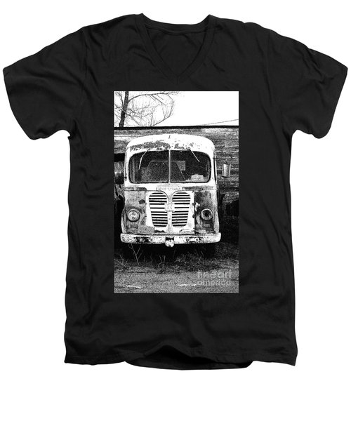 Metro Black And White Men's V-Neck T-Shirt