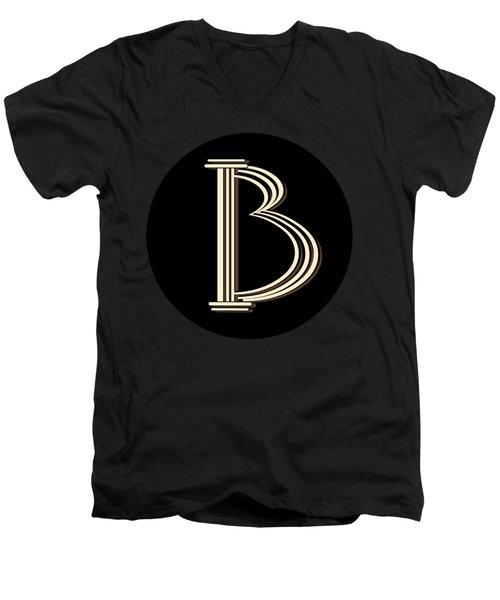 Metropolitan Park Deco 1920s Monogram Letter Initial B Men's V-Neck T-Shirt