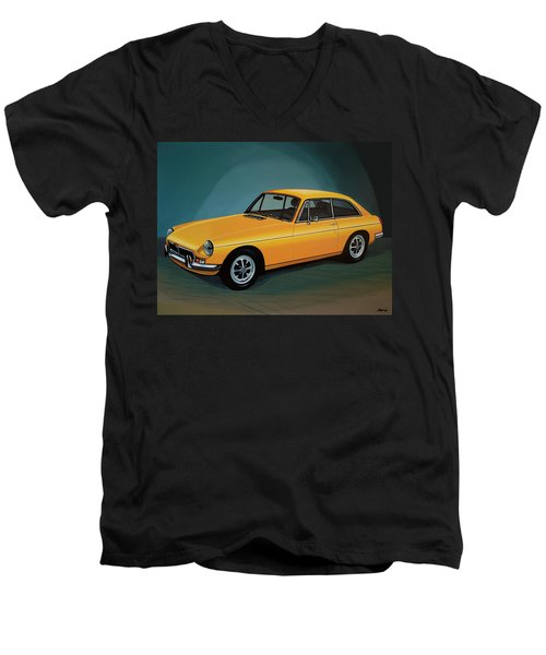 Mgb Gt 1966 Painting  Men's V-Neck T-Shirt by Paul Meijering