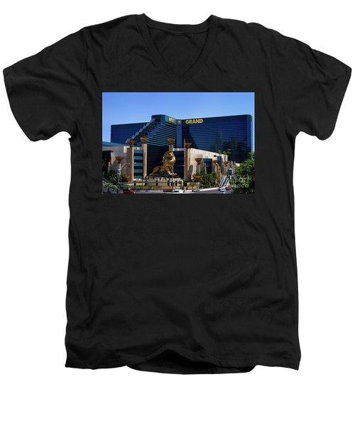 Mgm Grand Hotel Casino Men's V-Neck T-Shirt by Mariola Bitner