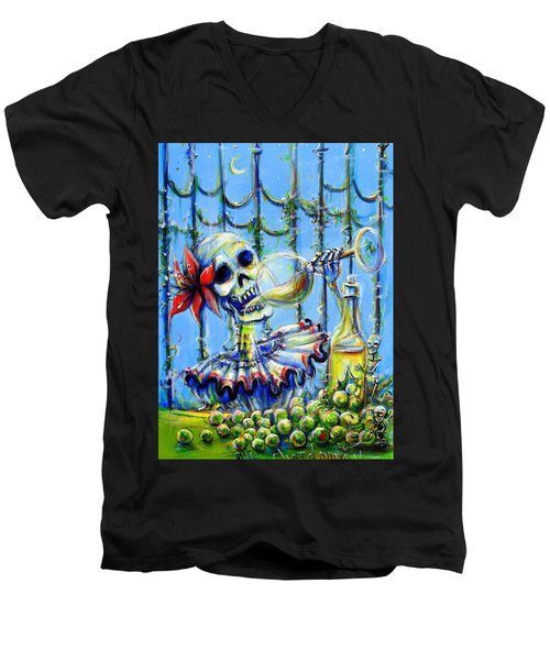 Men's V-Neck T-Shirt featuring the painting Mi Chardonnay by Heather Calderon