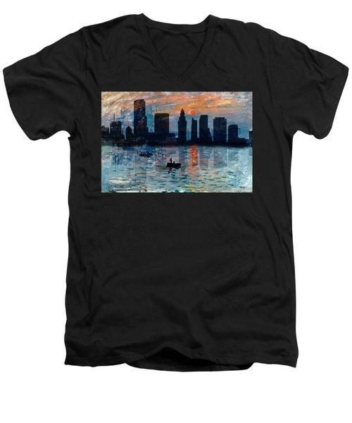 Miami Skyline 7 Men's V-Neck T-Shirt by Andrew Fare