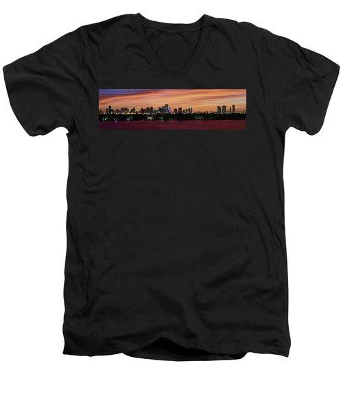 Miami Sunset Panorama Men's V-Neck T-Shirt by Gary Dean Mercer Clark