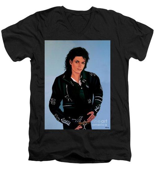 Michael Jackson Bad Men's V-Neck T-Shirt by Paul Meijering