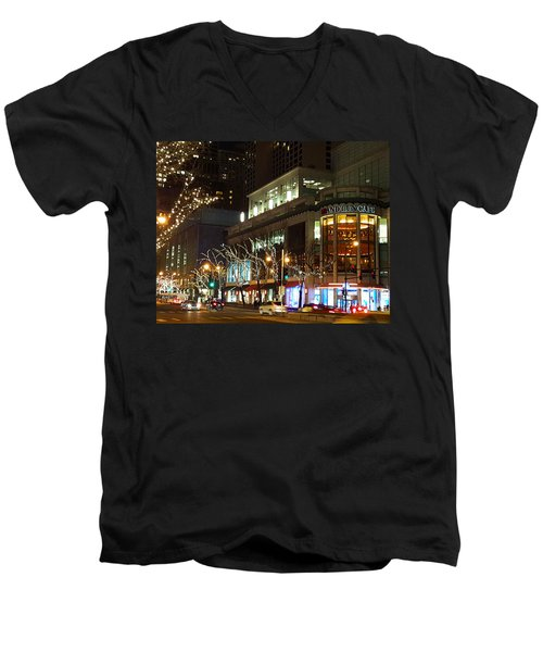 Men's V-Neck T-Shirt featuring the photograph Michigan Avenue  by Elizabeth Coats