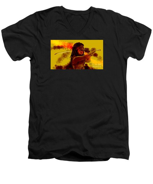 Michonne Men's V-Neck T-Shirt by David Kraig