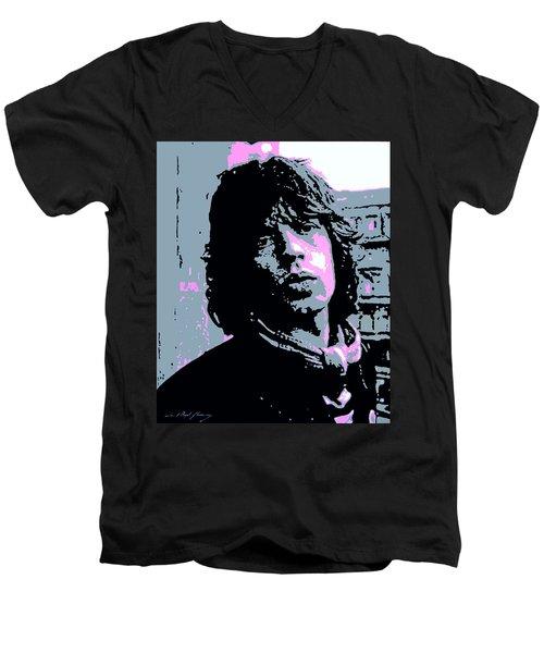 Mick Jagger In London Men's V-Neck T-Shirt