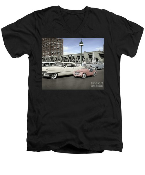 Men's V-Neck T-Shirt featuring the photograph Micro Car And Cadillac by Martin Konopacki Restoration