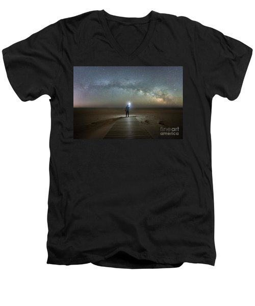 Midnight Explorer At Assateague Island Men's V-Neck T-Shirt