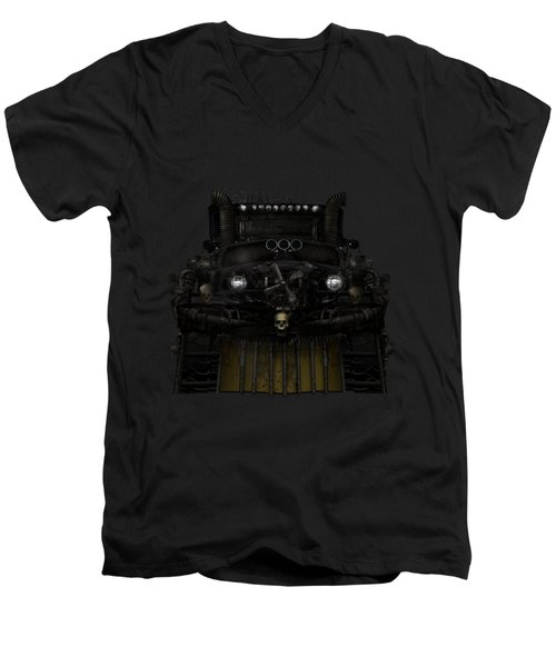 Men's V-Neck T-Shirt featuring the digital art Midnight Run by Shanina Conway