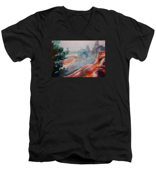 Mighty Canyon Men's V-Neck T-Shirt by Becky Chappell