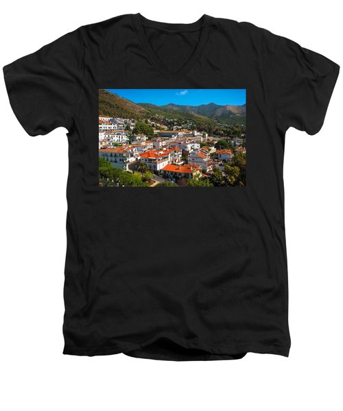 Men's V-Neck T-Shirt featuring the photograph Mijas Village In Spain by Jenny Rainbow